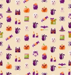 Halloween Seamless Texture with Colorful Flat vector