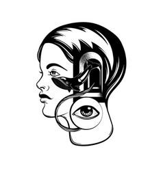Hand drawn young girl with door in her head vector