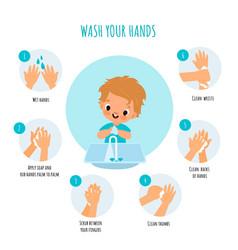 Hand washing technique little boy arms hygiene vector