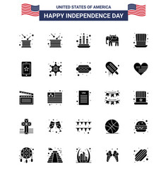 Happy independence day pack 25 solid glyph vector