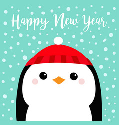 happy new year penguin head face red hat merry vector image