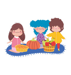 happy thanksgiving day boy and girls with pumpkin vector image