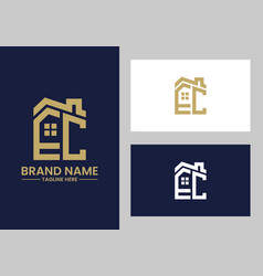 initial letter e and c with roreal estate vector image