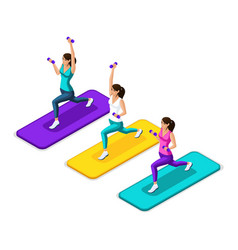 isometry of the girl make a lunging with dumbbells vector image