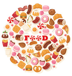 Junk food icons in round frame composition vector