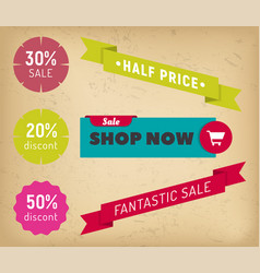 label shop now fantastic sale and discount vector image