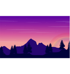 landscape big mountain with rainbow vector image