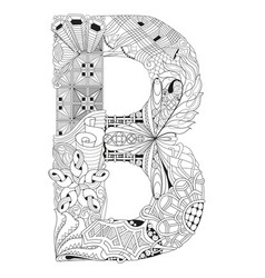 letter b for coloring decorative zentangle vector image