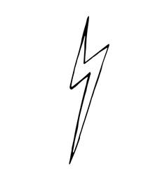 Lightning bolt doodle hand drawn vector