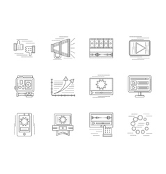 Linear icons set for video blogging vector image