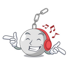 Listening music wrecking ball isolated on a mascot vector