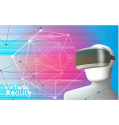 man wearing virtual reality headset vr concept vector image