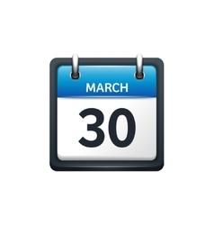 March 30 Calendar icon flat vector