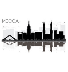 Mecca city skyline black and white silhouette vector