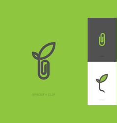 modern line logo mark template with sprout and vector image