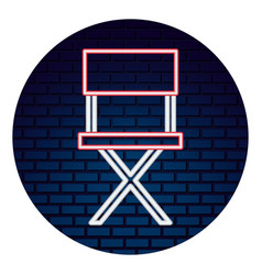 Movie director chair with neon lights vector