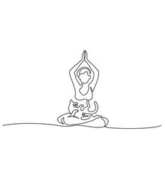 one line drawing woman doing yoga with cat vector image