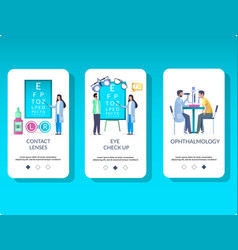 Ophthalmology mobile app onboarding screens vector