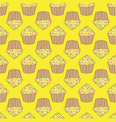 orange lemon cream cake seamless pattern vector image