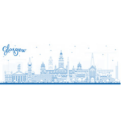 Outline glasgow scotland city skyline with blue vector