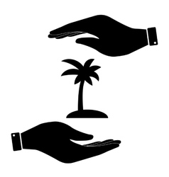 Palm in hand icon vector