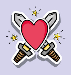 patches design with valentines day symbol of love vector image