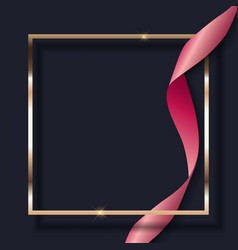 pink ribbon and golden frame on dark background vector image