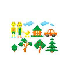 Pixel-art-happy-family vector
