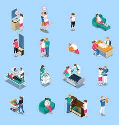 Pregnancy isometric icons vector