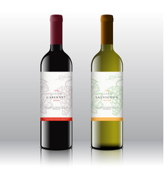Premium quality red and white wine labels set on vector
