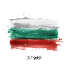 realistic watercolor painting flag bulgaria vector image