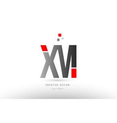 Red grey alphabet letter xm x m logo combination vector