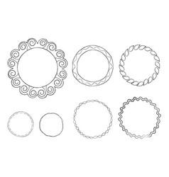 Round doodle line art frames set vector