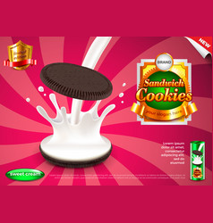 sandwich cookies and pouring milk ads background vector image