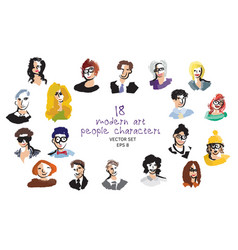 Set modern art people faces icon character vector