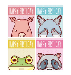 Set of happy birthday animals cards vector