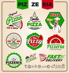 Set of pizzeria logo template design Pizza labels vector