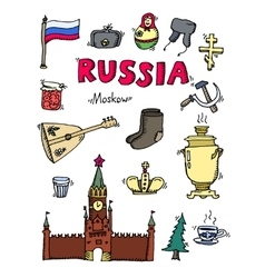 Set of Russia hand-drawn icons vector