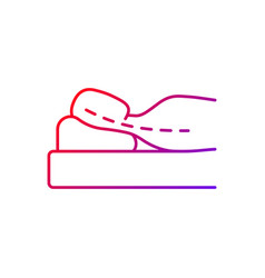 Sleeping with head elevated gradient linear icon vector