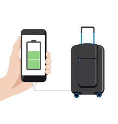 smart baggage with charger vector image