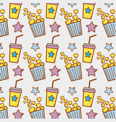 Soda beverage and popcorn in the cinema background vector