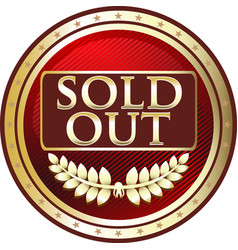 Sold out gold icon vector