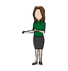Standing woman female cartoon wearing skirt vector