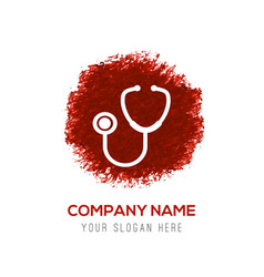 stethoscope icon - red watercolor circle splash vector image