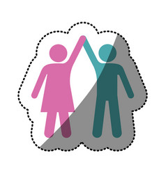 sticker silhouette color pictogram of couple taken vector image vector image