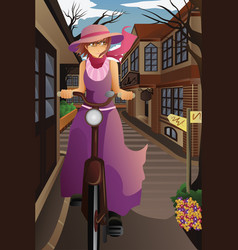 stylish girl with old bike in old city vector image