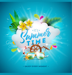 summer time with flower and vector image