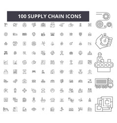 supply chain editable line icons 100 set vector image