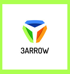 three arrows logo shadow color vector image