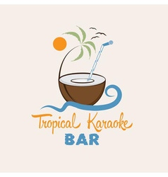 Tropical karaoke bar design template vector